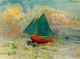 Art - Oil Paintings - Masterpiece #4461 - Odilon Redon - Red Boat with a Blue Sail - Gallery Quality