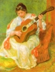 Art - Oil Paintings - Masterpiece #4490 - Pierre Renoir - Woman with Guitar - Museum Quality