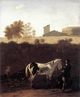Art - Oil Paintings - Masterpiece #3030 - DUJARDIN, Karel - Italian Landscape with Herdsman and a Piebald Horse sg - Museum Quality
