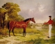 Art - Oil Paintings - Masterpiece #3045 - Herring, John F. Sr. - A Soldier with an Officer's Charger - Museum Quality