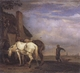 Art - Oil Paintings - Masterpiece #3051 - POTTER, Paulus - Two Drafthorses in Front of a Cottage (mk05) - Gallery Quality