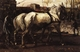 Art - Oil Paintings - Masterpiece #3055 - George-Hendrik Breitner - Two White Horses Pulling Posts in Amsterdam - Museum Quality