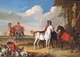 Art - Oil Paintings - Masterpiece #3084 - unknow artist - Horses and Hunter - Gallery Quality