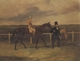 Art - Oil Paintings - Masterpiece #3103 - Harry Hall - Mr J B Morris Leading his Racehorse 'Hungerford' with Jockey up and a Groom On a Racetrack - Gallery Quality