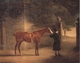 Art - Oil Paintings - Masterpiece #3107 - John Ferneley - Mr Wombell's Hunter with a Groom in a Courtyard - Museum Quality