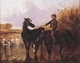 Art - Oil Paintings - Masterpiece #3116 - John Frederick Herring - Watering The Horses and Farmyard Companions:a Pair of Paintings - Museum Quality