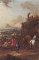 Art - Oil Paintings - Masterpiece #3121 - August Querfurt - Cavalrymen before a hilltop town - Gallery Quality