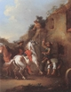 Art - Oil Paintings - Masterpiece #3122 - unknow artist - Cavaliers halted at a farrier - Gallery Quality