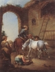 Art - Oil Paintings - Masterpiece #3123 - unknow artist - Horsemen saddling their horses - Gallery Quality