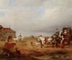 Art - Oil Paintings - Masterpiece #3127 - unknow artist - An open landscape with a horse and carriage halted beside a pond,with anmals and innnearby - Gallery Quality
