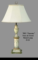 Jeanne Reed's - Tuscany Ivory & Green Wood Lamp