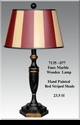 Jeanne Reed's - Wood Lamp (Faux Marble) red stripe painted shade
