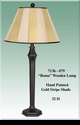 """Jeanne Reed's - Wood Lamp """"Roma"""" - gold stripe painted shade"""