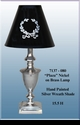 """Jeanne Reed's - Brass Lamp """"Plaza"""" - silver wreath painted shade"""