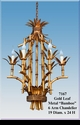 """Jeanne Reed's - Gold Leaf Metal """"Bamboo""""6 Arm Chandelier"""