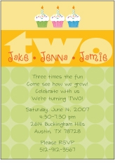 Any Age Cupcakes B&G Triplets Birthday Invitation