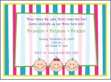 Stripes Faces B&G Triplets Birthday Invitation