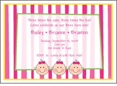 Stripes Faces Girl Triplets Birthday Invitation