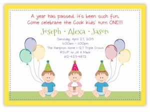 Sweet Babies G&B Triplets Birthday Invitation
