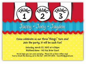 Dr. Seuss Thing 1 2 3 G&B Triplets Birthday Invitation