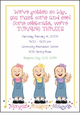 Triplets Cartoon Kids-3 GGG Birthday Invitation