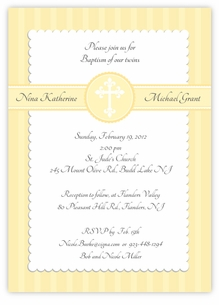 Simply Splendid Twins Baptism Invitation Yellow