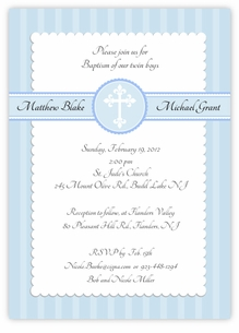 Simply Splendid Twins Baptism Invitation Blue