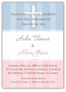 Pure Class Girl Boy Twins Baptism Invitation