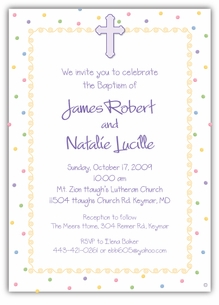 Dots-n-Swirls Girl Boy Twins Baptism Invitation