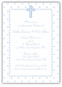 Dots-n-Swirls Boy Twins Baptism Invitation