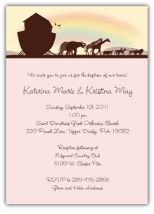 Noah�s Ark Sillouette Twin Girls Baptism Invitation