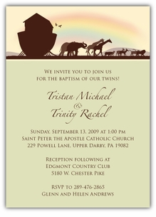 Noah�s Ark Sillouette Twin Baptism Invitation