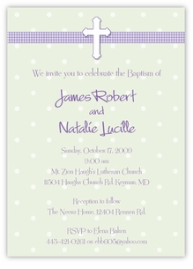 Adorable Dots Girl Boy Twins Baptism Invitation