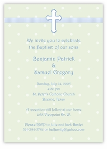 Adorable Dots Boy Twins Baptism Invitation