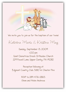 Noah's Ark Baptism Girl Twins Invitation