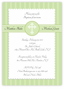 Simply Splendid Twins Baptism Invitation Green