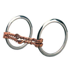 """Weaver Leather All Purpose Ring Snaffle Bit, 5"""" Offset Double Twisted Copper Wire Mouth"""