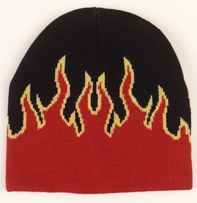 DELUXE ACRYLIC RED FLAME SKULL CAP