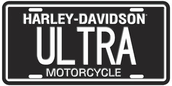Harley-Davidson ULTRA  Stamped Metal License Plate
