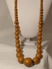 LONG WOOD BROWN BEAD NECKLACE 15 IN L