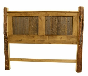 Headboard - Rustic Alder and Barn Wood / Pine Post
