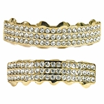 Teeth Grillz Iced Out Gold Plated Set