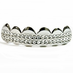 Two Row Silver Tone Top Grillz