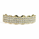 14k Gold Plated 3-Row Top Grillz