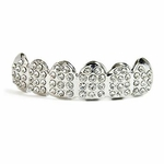 Paved Silver Tone Top Teeth Grillz