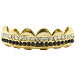 Black Gold Plated 2-Row Top Grillz