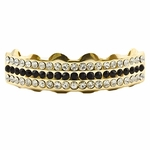 Black Gold Plated 3-Row Top Grillz