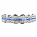 Blue Silver Tone 3-Row Top Grillz