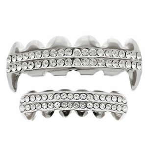 Silver Fangs 2-Row Grillz Set
