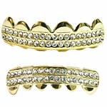 Gold Two Row Grillz Set